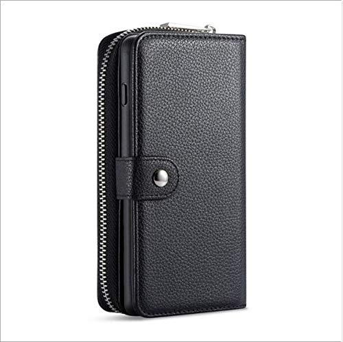 WLWLEO Für Samsung s10plus case, abnehmbare magnetische pu Leder Zip wristlets Kupplung Brieftasche Abdeckung für Samsung s10,Black,S10plus - Black Diamond-kupplung