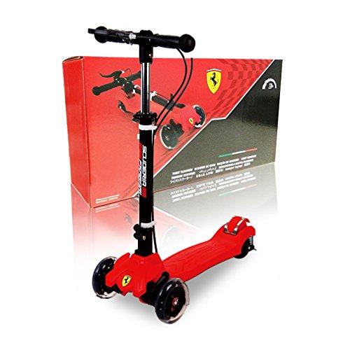 Ferrari Monopattini pieghevole Kickboard per motorino Kid Scooter con manubrio regolabile in altezza e ruote a LED sussurranti fino a 50 kg caricabili per bambini dai 3 ai 7 anni
