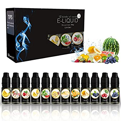 E Liquid VOVCIG E Juice 12 Pack 10ml E-Liquids Multipack Premium Set VG:PG=35:65 E-Liquid for E CIG Vape Pen E Cigarette Starter Kit Vapour Vape E Shisha Eliquid No Nicotine by VOVCIG