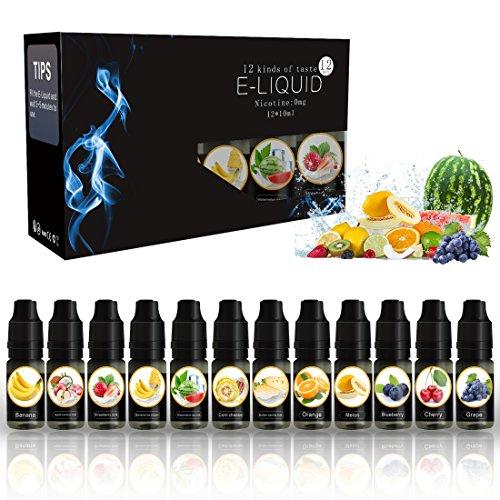 E-Liquid für E-Zigarette Elektrische Zigarette (0,0 mg Nikotin) 12er Pack (12 x 10 ml)