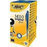 BIC M10 Original Stylos-Bille Rétractables Pointe Fine (0,8 mm) - Bleu, Boîte de 50
