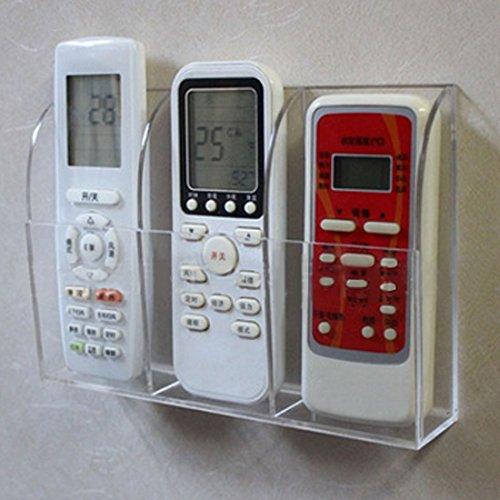 Galleria fotografica Dingdangbell porta telecomando, supporto da parete in acrilico trasparente Home organizer Storage box con tre scomparti per TV DVD condizionatore d' aria