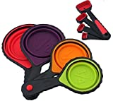 Collapsible portable Silicone Measuring Cups & Spoons 8-Piece Set Folding Great for Traveling Outdoor Camping and Pet food Scoops