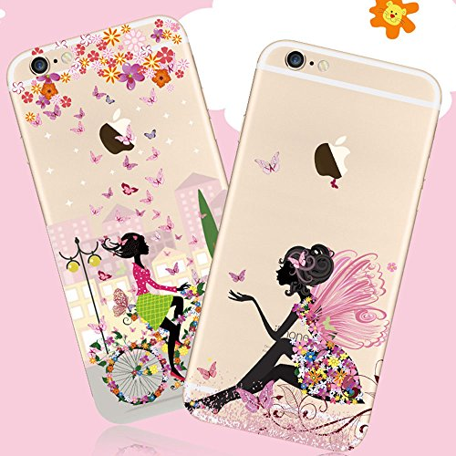 iPhone 6S Hülle,iPhone 6 Case,iPhone 6 (4.7 Zoll) Silikon Gel Schutzhülle,Sunroyal Schön Floral Elegant Rosa Blumen Weiß Hase Entwurf Muster Transparent Durchsichtig TPU Bumper Case Soft Silikon Gel C Pattern 16