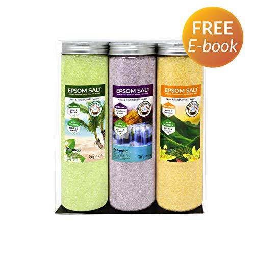 NortemBio Epsom Salz Set 3 x 430 g. Vanille, Rosen und Zitronenaroma. Hydratisiert mit Vitamin C und E. Badesalz, Aromatherapie, Floatingtherapie. - Erdbeer-vanille Vitamine