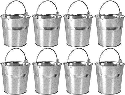 8 x Small 9cm Galvanised Metal Serving Buckets / Cutlery Caddies