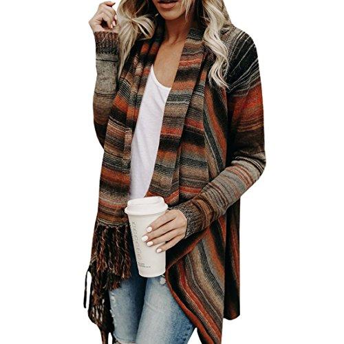 Frauen Quaste Fransen V Front Vintage Plaid Pashmina Schal Wrap Schal Strick Tops Mantel Kap Poncho Pullover Jumper S-2XL (Schal Wrap Cardigan)