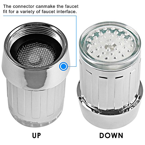 Bunte LED-Wasser-Hahn, Dland RC-F03 bunten LED-Licht-Wasser-Strom-Hahn-Hahn mit 3 Farbmodelle für Küche und bathroms -. Völlig 7 Farben (2ST-Hähne und 2 Adapter pro Beutel) - 3