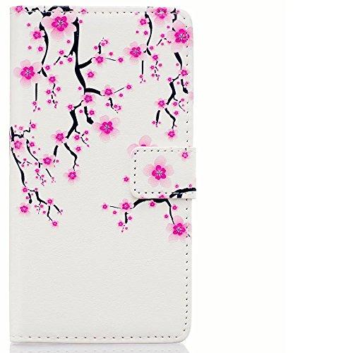 Preisvergleich Produktbild KSHOP Schutzhülle für Huawei P9 Hülle PU Leder Wallet Brieftasche Case Cover Bookstyle Handyhülle Taschen Ultradünn mit Standfunktion Schale kratzfeste Stoßfest Magnetic schließt Drucken Muster Licht lila Pflaume + Bleistift Touch Rote