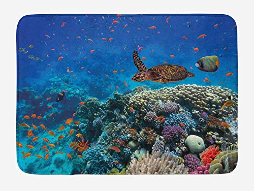 Fish Bath Mat, Exotic Fish and Turtle in Fresh Water on Stony Corals Bio Diversity Wild Life Photo, Plush Bathroom Decor Mat with Non Slip Backing, 23.6 W X 15.7 W Inches, Multicolor - Oriental Fish Bowl