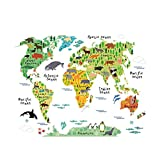 Dailyinshop Colorful Animal World Map Wall Sticker Home Decal for Kids Baby Room Living Room Decal Mural Art DIY Wall Art(Color:Colorful)