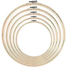 eBoot 5 Piezas Aros de Bordado de Bambú Bastidor de Punto de Cruz Redondo Set de Anillo para Manualidades Costura a Mano, 5 Tamaños