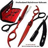 Saaqaans MSS-04 Set Forbici Parrucchiere Professionali - Perfetto per Tagliare i Capelli, Tagliare la Barba e i Baffi (Rosso & Nero)