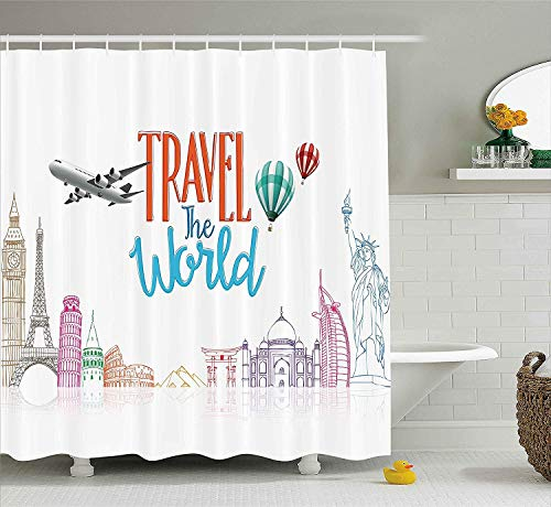 rwwrewre Quote Decor Shower Curtain, Travel The World Lettering with Around World Landmarks Balloons Artwork Image 60W X 72L Extra Bathroom Decor with Hooks Betsey Johnson Rock