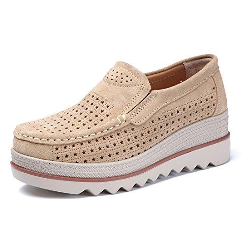Z.suo mocassini donna in pelle scamosciata moda comode loafers scarpe da guida(37 eu,colore albicocca.2)