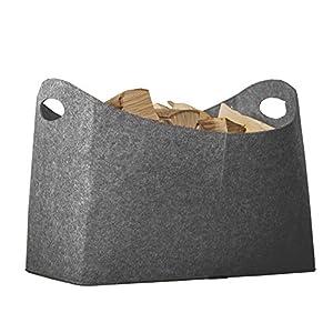 Rubberneck Kaminholztasche XL aus Filz für Holz, Zeitungen, Kaminholz – Filztasche Maße 54 x 30 x 39 cm (Anthrazit)