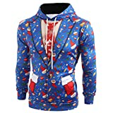 Jaminy Herren 3D Druck Hoodie Kapuzenpullover Langarm Sweatshirt Kapuzenjacke Bunt Langarm Pullover Sweatshirt M-5XL (Blau, XXL)