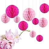 Feelshion 10x Seiderpapier Wabenball Set pompom honeycomb deko für Party Hochzeit Geburtstag Rosa Pink