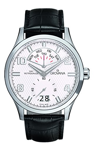 Grovana Men's Quartz Watch with Silver Dial Analogue Display and Black Leather Strap 1740.1532