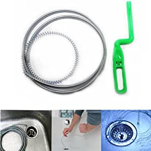 1.25M Flexible Metal Clogged Drain Pipe Sink Cleaner Sewer Pipe Dredging Clean Device by Grids