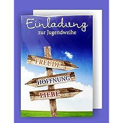 Feste Feiern Einladungskarten Jugendweihe I 5 Teile Einladung Karten Doppelkarten mit Briefumschlägen I Wegweiser Freude Hoffnung Liebe mehrfarbig