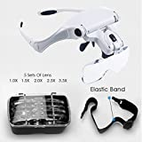 Headband Magnifier with LED Light, Handsfree Reading Magnifier Glasses, Magnifying Glasses with 2 LED Light 5 Detachable Lenses for Reading, Jewelry Loupe, Electronic Repair (Style 1)
