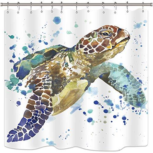 Cdcurtain Sea Turtle Duschvorhang Set Tier in Ocean Weiß Vorhang für die Dusche Panel Polyester Stoff Wasserdicht clowfoot Badewanne 182,9x 198,1cm mit 12Kunststoff Dusche Haken (Stoff Dusche Vorhang Tiere)