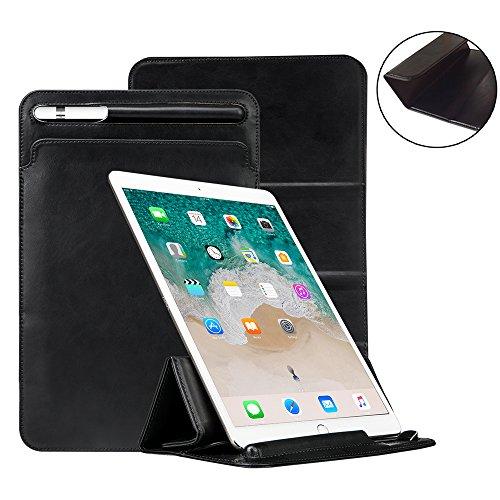 iPad Pro 12,9Fall Tastatur kompatibel, toovren Dreifach gefaltete Standabdeckung, mit Bleistift Halter Magnet Leder Sleeve, für Apple iPad Pro 12.9inch schwarz (Stift-halter Dreifach)