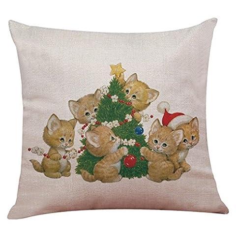 moonuy Nouveau 45 * 45 cm nouveau Noël beau chien chat arbre de Noël imprimer coton linge de lit housse coussin canapé couverture maison Decor Home Decor textiles literie (A)