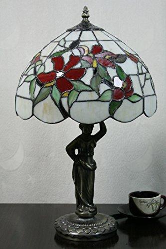 HDO 12-Zoll-Weinlese-Pastoral Blumen-Buntglas Tiffany Tischlampe Schlafzimmer Lampe Nachttischlampe (Blumen-buntglas)
