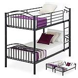 UEnjoy Bunk Beds Frame 3FT Single Separable Metal Black Bed For Children Adult