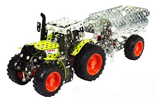 Tronico 10011 - Metallbaukasten Traktor Claas Arion 430 mit Kippanhänger, Maßstab 1:32, Mini Serie, grün, 700 Teile