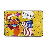 Vidmkeo Lindo Perro Gracioso Bandera Americana Citar Felpudo Alfombrilla Exterior para Uso Exterior Poliéster Antideslizante para la Puerta Cocina Dormitorio Jardín, 15.7  x 23.6
