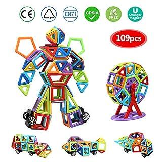 infinitoo Blocs Construction Magnétiques   109 Pièces Mini Jeux de Construction Magnetique Colorée 3ère-Version   Idéal Cadeau pour Bébé à Partir de 3 Ans