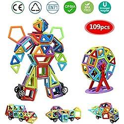 infinitoo Blocs Construction Magnétiques   109 Pièces Mini Jeux de Construction Magnetique Colorée 3ère-Version   Idéal Cadeau pour Bébé à Partir de 3 Ans (109pcs)