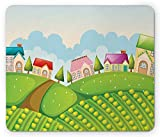Country Mouse Pad, Colorful Farmhouses on Hills with Pine Trees Pathway Cabbage Crops Outdoor Nature, Standard Size Rectangle Non-Slip Rubber Mousepad, Multicolor
