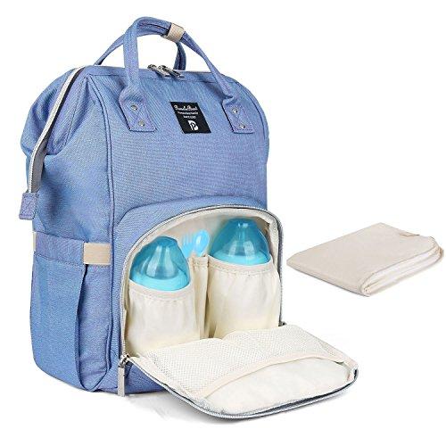Baby Wickelrucksack Wickeltasche mit Wickelunterlage Multifunktional Oxford Große Kapazität Babyrucksack Kein Formaldehyd Reiserucksack für Unterwegs (Blau Lila)