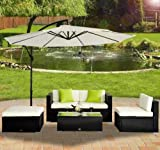 Outsunny 5pc Rattan Wicker Conservatory Furniture Garden Corner Sofa Outdoor Patio Furniture Set Black (Parasol Not Included)