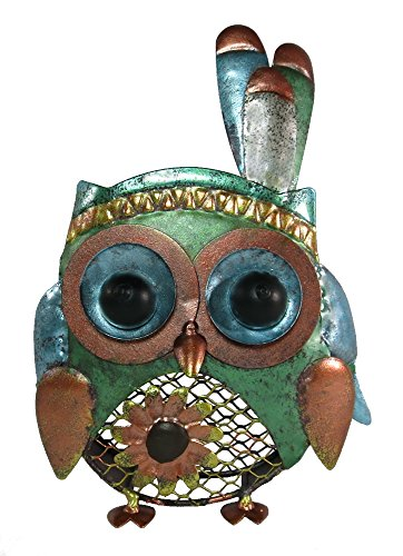 Metall-Figur Eule Indianer 13 x 21cm mit Pflanzgitter - bunt - Eule-Figur - Metall-Eule - Deko-Eule - bepflanzbar