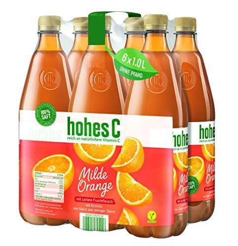 Hohes C Milde Orange mit Fruchtfleisch - 100 Prozent Saft, 6er Pack (6 x 1 l)