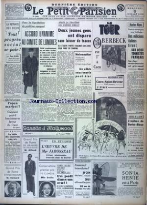 PETIT PARISIEN DERNIERE (LE) [No 22407] du 06/07/1938