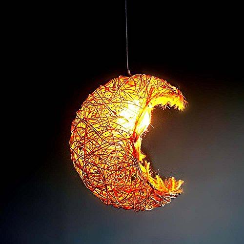 LINA-Lampadario a forma di luna salotto giardino rattan , 3