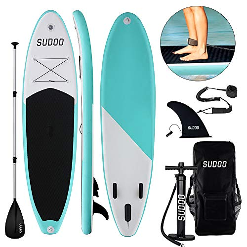 Triclicks Tabla Hinchable Paddle Surf/Sup Paddel Surf con Bomba, Mochila, Aleta Central Desprendible, Kit de Reparación, Remo Ajustable, La Cinta para Atar al Pie(300 * 75 * 15cm-Grosor) Verde