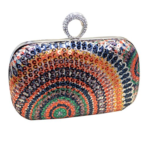 Aisi Anello da donna strass Studded Sequin Evening Clutch Mini Borsa Partito di Sera, Multicolour (multicolore) - hyh-06 Multicolour