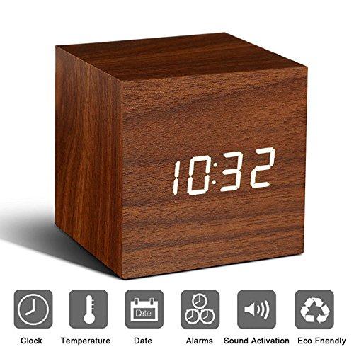 Holz Wecker Digital LED Licht minimalistischen Mini Cube mit Datum und Temperatur Sound Control Schreibtisch Wecker für Reisen, Kinder Schlafzimmer, Zuhause, Büro-Braun