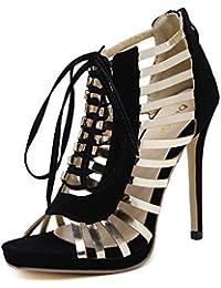 ZWME Señoras Para Mujer Mediados De Tacón Alto Con Cordones Stiletto Bar Party Sandalias Prom Prom Zapatos