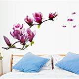 wandaufkleber wandtattoos Ronamick Magnolia Flower Home Haushalt Zimmer Wand Aufkleber Wandbild DekorWandbild Dekor Aufkleber Abnehmbar Neu Wandtattoo Wandaufkleber Sticker Wanddeko (Rot)