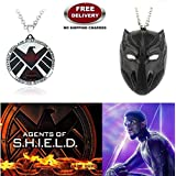 (2 Pcs AVENGER SET) - AGENTS OF S.H.I.E.L.D & BLACK PANTHER IMPORTED PENDANTS. LADY HAWK DESIGNER SERIES 2018. ❤ ALSO CHECK FOR LATEST ARRIVALS - NOW ON SALE IN AMAZON - RINGS - KEYCHAINS - NECKLACE - BRACELET & T SHIRT - CAPTAIN AMERICA -