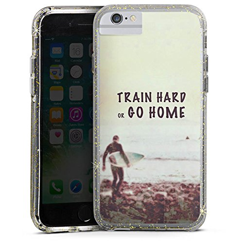 Apple iPhone 6 Bumper Hülle Bumper Case Glitzer Hülle Sport Training Fitness Bumper Case Glitzer gold