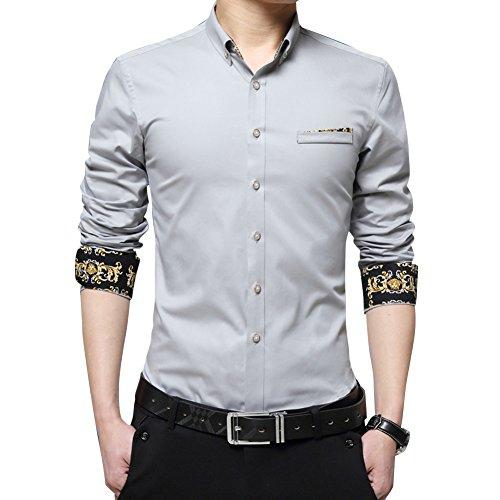 Uomo Slim Fit Camicie con Stampa / Camicia Contrasto Maniche Lunghe Con Botton Moda Taglia M/L/XL/XXL/3XL Grigio